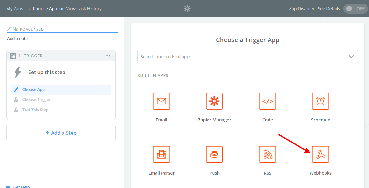 Choose Webhooks as a Trigger App